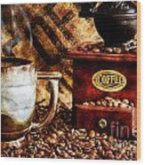Coffee Beans And Grinder Closeup Wood Print