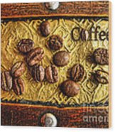 Coffee Beans And Wood Wood Print