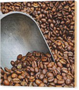 Coffee Beans With Scoop Wood Print