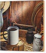 Coffee Break At The Chuck Wagon Wood Print