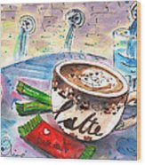Coffee Break In Spili In Crete Wood Print