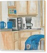Coffee Cups On The Counter Wood Print by Jeremiah Iannacci
