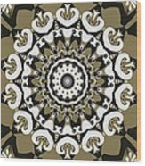 Coffee Flowers 10 Olive Ornate Medallion Wood Print