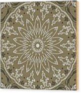 Coffee Flowers 11 Olive Ornate Medallion Wood Print