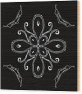 Coffee Flowers 4 Bw Ornate Medallion Wood Print