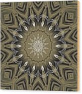 Coffee Flowers 4 Olive Ornate Medallion Wood Print