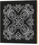 Coffee Flowers 6 Bw Ornate Medallion Wood Print