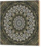 Coffee Flowers 6 Olive Ornate Medallion Wood Print