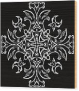 Coffee Flowers 7 Bw Ornate Medallion Wood Print by Angelina Vick