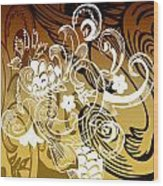 Coffee Flowers 8 Calypso Wood Print