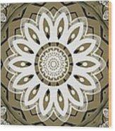 Coffee Flowers 8 Olive Ornate Medallion Wood Print