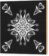 Coffee Flowers 9 Bw Ornate Medallion Wood Print