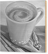 Coffee In Tall Yellow Cup Black And White Wood Print