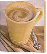 Coffee In Yellow Cup Wood Print