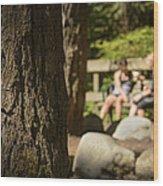 Coffee In The Park Wood Print by Paul W Sharpe Aka Wizard of Wonders