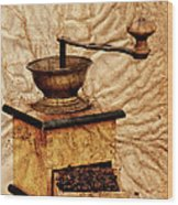 Coffee Mill And Beans In Grunge Style Wood Print