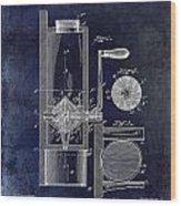 Coffee Mill Patent 1893 Blue Wood Print