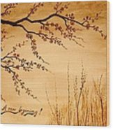 Coffee Painting Cherry Blossoms Wood Print