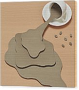 Coffee Spilling Out From A Coffee Cup Wood Print