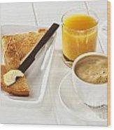 Coffee Toast Orange Juice Wood Print by Colin and Linda McKie