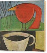 coffee with red bird II Wood Print