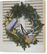 Coffee Wreath Wood Print