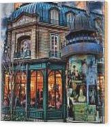 Coffeehouse - Belle Soiree Au Cafe Wood Print