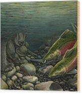 Coho Fishing Wood Print