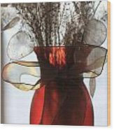 Coin Flowers And Red Vase Wood Print