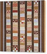 Coin Quilt -  Painting - Brown And White Patches Wood Print