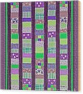 Coin Quilt - Quilt Painting - Purple And Green Patches Wood Print