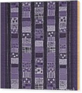 Coin Quilt -quilt Painting - Purple Patches Wood Print