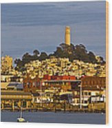 Coit Tower Golden Hour Wood Print