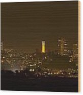 Coit Tower In The Giant's Team Color Wood Print
