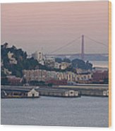 Coit Tower Sits Prominently On Top Of Telegraph Hill In San Francisco Wood Print