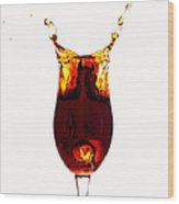 Coke Splashing In The Cup Liquid Art Wood Print by Paul Ge