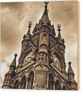 Colck Tower Stratford On Avon Sepia Wood Print