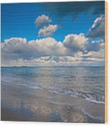 Cold And Windy Beach Day Wood Print