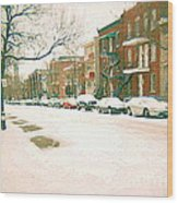 Cold Day In Montreal Pointe St Charles Art Winter Cityscene Painting After Big Snowfall Psc Cspandau Wood Print