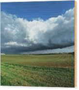 Cold Front Storm Clouds Over Fields Wood Print