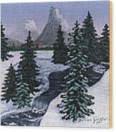 Cold Mountain Brook Wood Print
