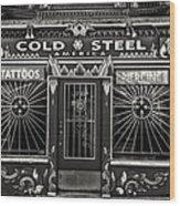 Cold Steel Bw Wood Print