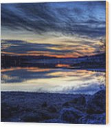 Cold Winter Sunset On The Lake Wood Print