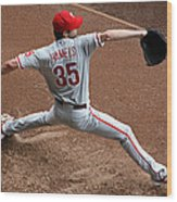 Cole Hamels - Pregame Warmup Wood Print by Stephen Stookey