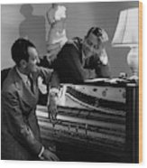 Cole Porter And Moss Hart At A Piano Wood Print