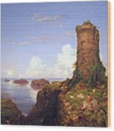Cole's Italian Coast Scene With Ruined Tower Wood Print