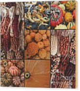 Collage - Corn - Pumpkins - Gourds - Elena Yakubovich Wood Print