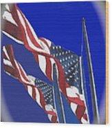Collage Half Mast Flag Honoring President Ronald Reagan Number 2 Casa Grande Az  2004-2013 Vignetted Wood Print