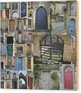 Collage Of Doors Wood Print