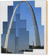 Collage Of St Louis Arch Wood Print